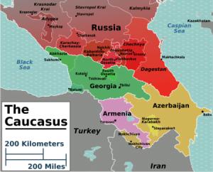 Caucasus regions map
